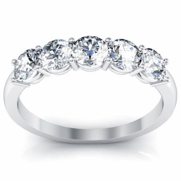 Five Stone Round Diamond Anniversary Band One Carat - click to enlarge