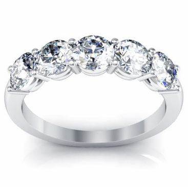 Five Stone Round Diamond Anniversary Wedding Band 1.50cttw - click to enlarge
