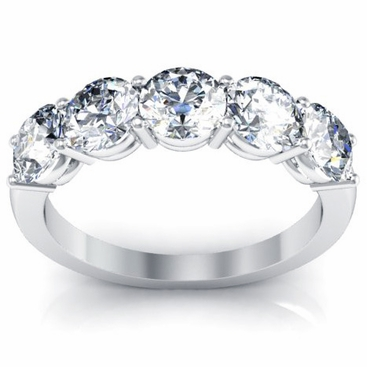 Five Stone Round Diamond Anniversary Wedding Band 2.00cttw - click to enlarge