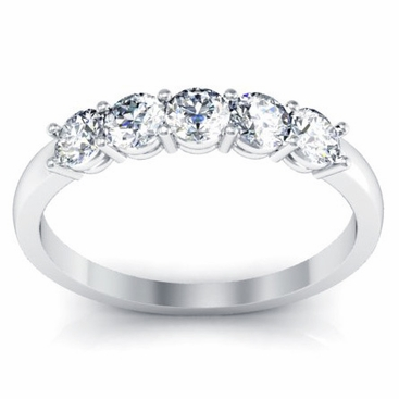 Five Stone Round Diamond Anniversary Wedding Ring 0.50cttw - click to enlarge
