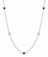Diamond and July Birth Stone Station Necklaces