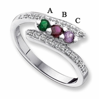 14kt Gold Birthstone Mother's Ring Engravable with Three Birthstones