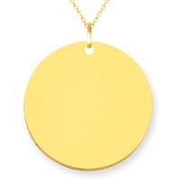 14kt Gold Disc Pendant Necklace 23mm