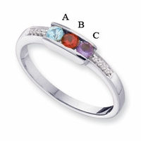 14kt Gold Family Ring for Mom with Three Birthstones