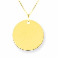 14kt Yellow Gold Disc Pendant 12mm