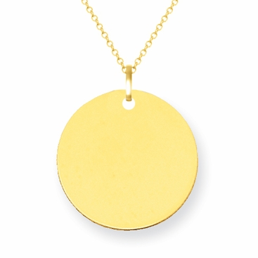14kt Gold Disc Pendant 12mm - click to enlarge