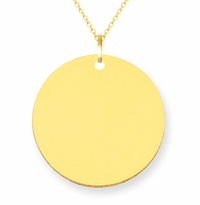 14kt Yellow Gold Engravable Disc Pendant 17mm
