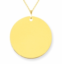 14kt Yellow Gold Initial Disc Necklace 19mm