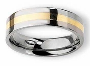 14kt Yellow Gold Inlay Titanium Ring Polished Finish in 6mm