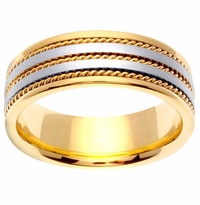 18k Gold Mens Ring with Platinum Bands 7 mm Comfort Fit