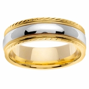 18k Gold Ring with Platinum Wedding Band