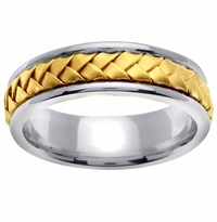 18kt Gold Braided Center Platinum Ring