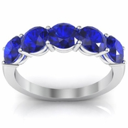 Two Carat Five Stone Ring with Natural Blue Sapphires
