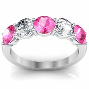 2.00 cttw Pink Sapphire and VS Diamond 5 Stone Ring