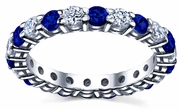 2.00cttw Diamond and Blue Sapphire Eternity Ring