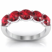 2.00cttw Ruby Five Stone Ring Natural Round Brilliant Cut