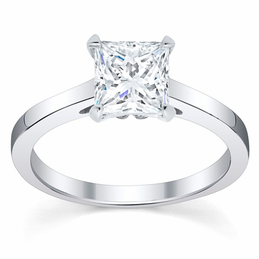 Diamond Solitaire Cathedral Flat Engagement Ring 2.5 mm - click to enlarge