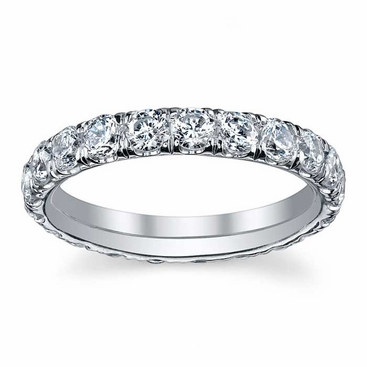 2.5mm Forever One Moissanite U Pave Eternity Ring - click to enlarge