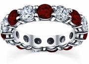 2nd Anniversary Eternity Band with Garnet and Diamond