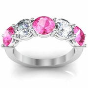 3.00 cttw Pink Sapphire and SI Diamond 5 Stone Ring