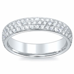 3 Row Pave Diamond Eternity Wedding Bands 4.5mm