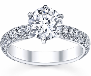 3 Row Pave Engagement Ring - click to enlarge