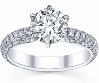 3 Row Pave Engagement Ring