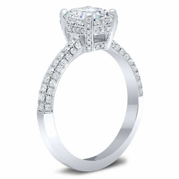 3 Sided Pave Engagement Ring with Pave Basket - click to enlarge