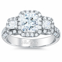 3 Stone Pave Halo Engagement Ring