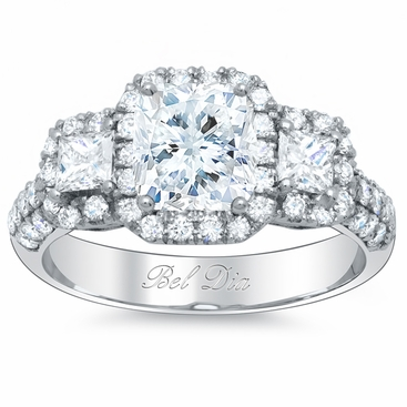 3 Stone Pave Halo Engagement Ring - click to enlarge