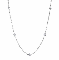 3mm Forever One Moissianite 7-Stone Station Necklace