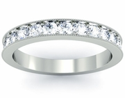 3mm Single Row Pave Diamond Eternity Wedding Band