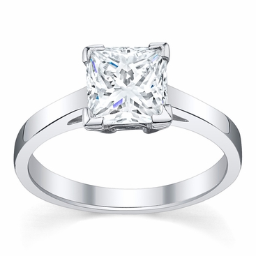Diamond Solitaire Cathedral Flat Engagement Ring 3 mm - click to enlarge