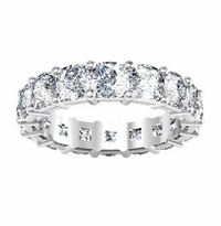 4.5mm Forever One Moissanite Cushion Shared Prong Eternity Ring