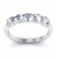 4mm Round Moissanite Forever One Moissanite Stacking Five Stone Band