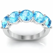 5 Stone Aquamarine Birthstone Ring