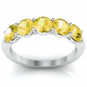 5 Stone Band in Yellow Sapphire