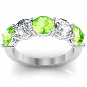 5 Stone Band with Peridot and Diamond Birth Stones