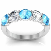 5 Stone Ring with Diamond and Aquamarine Gem Stones