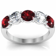 5 Stone Ring with Diamond and Garnet Gem Stones