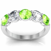 5 Stone Ring with Diamond and Peridot Gem Stones