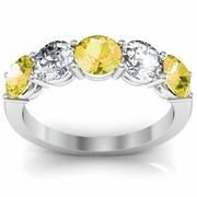 5 Stone Ring with Diamond and Yellow Sapphire Gemstones
