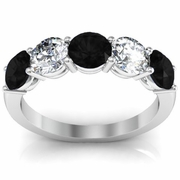 5 Stone Ring with White Diamond and Black Diamond Gemstones