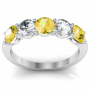 5 Stone Ring with Yellow Sapphire and Diamond Gemstones