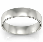 5mm Platinum Wedding Band Milgrain