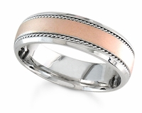 6.5 mm Handmade Wedding Ring with Rose Gold Center