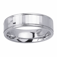 6.5mm Faceted Mens Wedding Band in White Gold