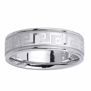 6.5mm Greek Key Design Wedding Ring