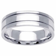6.5mm Mens Wedding Band with Grooves