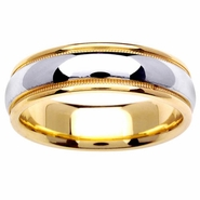 6.5mm Two Tone Wedding Ring with Comfort Fit 14kt Gold for Men